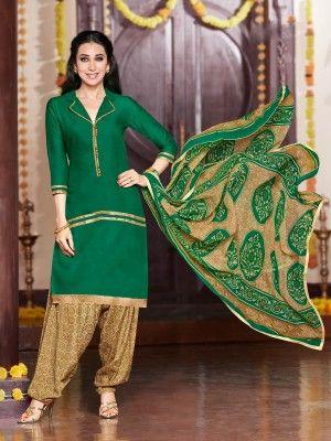 Green Beige Glaze Cotton Elegant Patiala Salwar Kameez