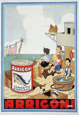 """Pubblicità del tonno Arrigoni (Trieste), illustrazione tratta dalla rivista """"L'Illustrazione Italiana"""" del 19 dicembre 1937, pagina XXI"""