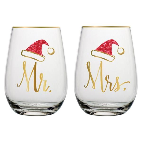 Perfect gift for the newlyweds or married duo just in time for Christmas. Set of two stemless wine glasses featuring gold trim and matching santa hats, one for