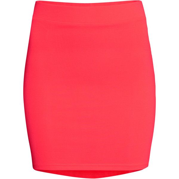 H&M Jersey skirt (44 SEK) ❤ liked on Polyvore featuring skirts, mini skirts, bottoms, saias, faldas, coral, red skirt, jersey skirt, short red skirt and wide skirt