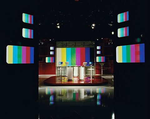 Graphic Photographs of Empty Television Studios photographed by Marina Gadonneix