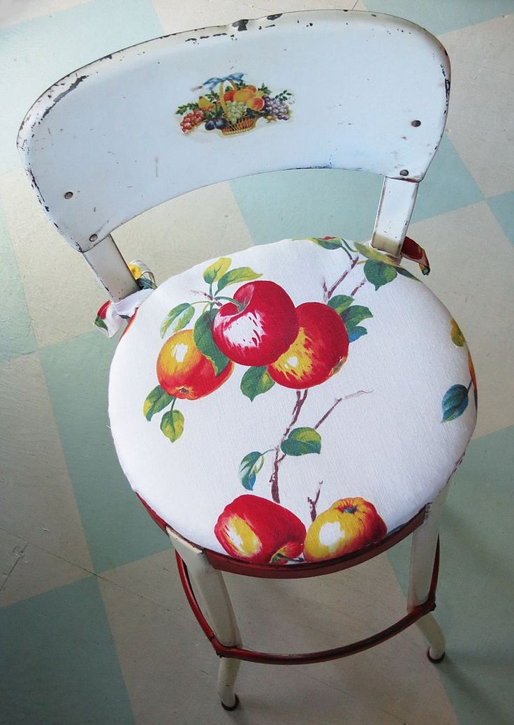 Vintage metal kitchen chair with apple print fabric seat - love it!