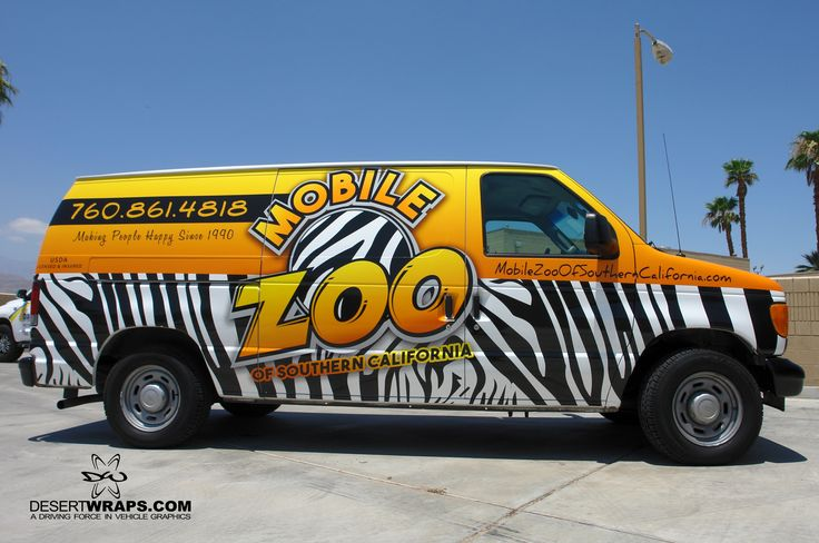 Mobile Zoo of Southern California has given us the honor of designing and wrapping their vans! There's no way this van will be missed driving around town or parked outside a Mobile Zoo event! #MobileBusiness #VanWrap #VehicleWrap #MobileAd #Business #PalmSprings #PalmDesert #SanDiego #LA