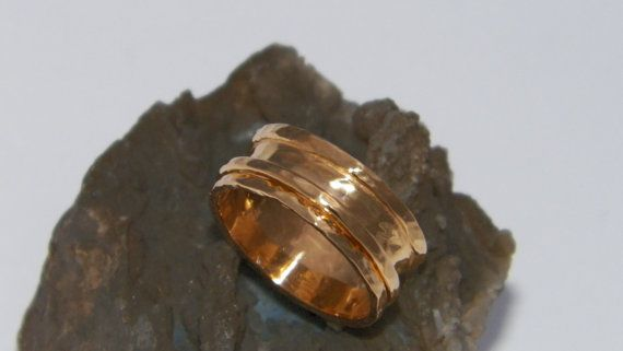 Hammered .925 Sterling Silver Spinner Ring 1 microne 14 Yellow Gold Plated-Custom Size  The ring is made of solid .925 Sterling Silver the layer of 14 Yellow Gold Plating is 1 micron thickness.This is not a regular Gold Plate,1 micron layer of 14 K Gold Plating it has a long life wear.  What a fun little trinket to adorn your finger!  This sweet little spinner ring will be hand made for youin your requested size.  I hand made this band ring out of .925 Sterling Silver.  The one ring bands…