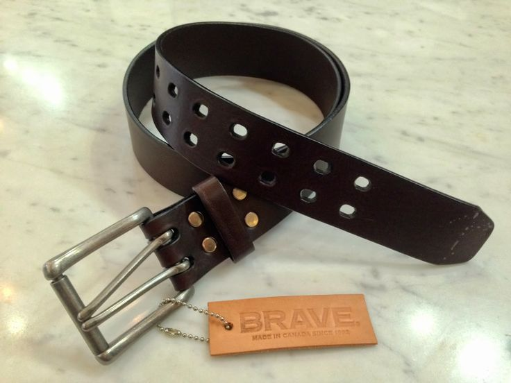 Brave Leather Mens Classic Belt love the double spike buckle!