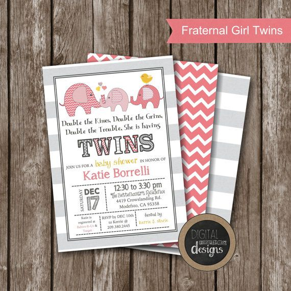 Shabby Chic Elephant TWIN Baby Shower by DigitalStudioDesigns