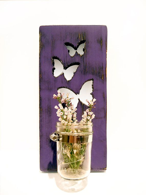Mason Jar Vase Butterflies Candle holder Purple by ThePineNuts, $28.00