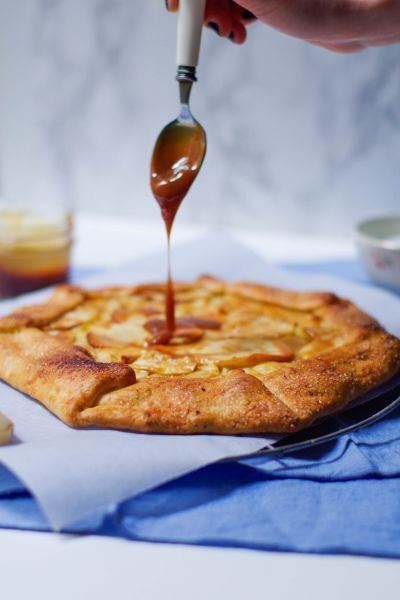 Tarte rustique pommes et confiture de lait, Recette Ptitchef
