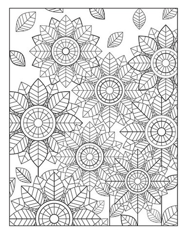 Floral Fan Coloring Poster