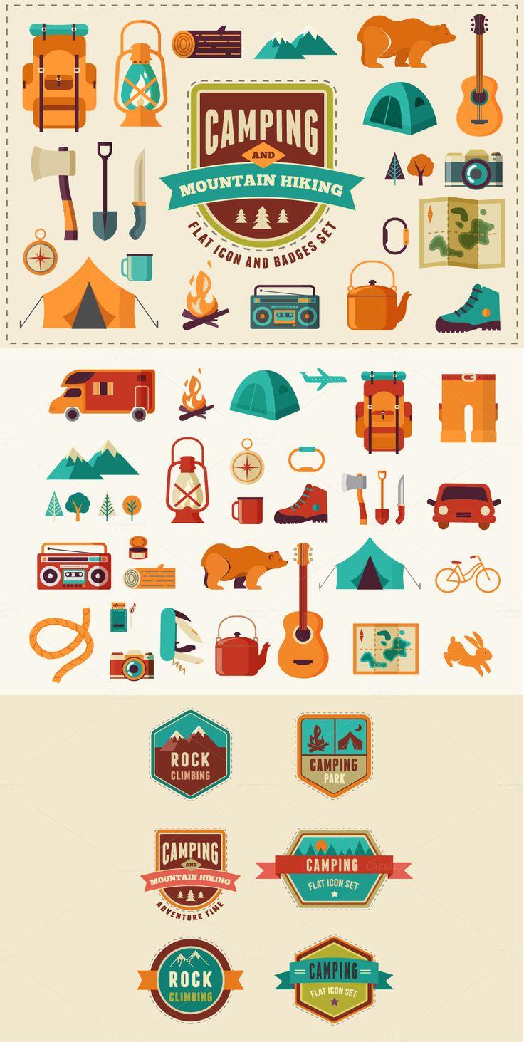 Camping & Hiking flat icon set by Marish #illustration #icons #designtools #downloads