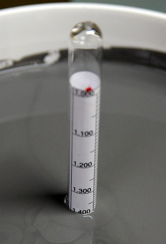measuring specific gravity of the glaze