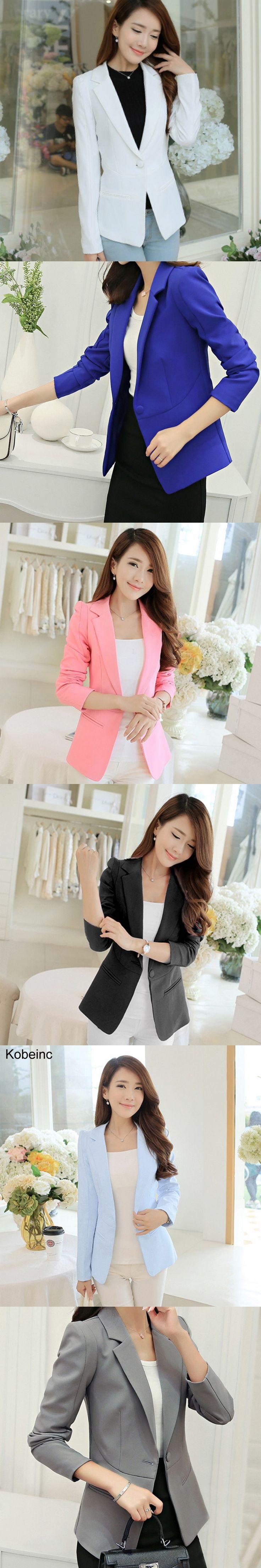 Kobeinc Women Blazers And Jackets Casual Single Button Blazer Femme Summer Korean Style Solid Lady Jacket Plus Size S-XXL