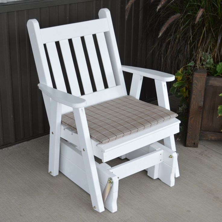 A & L Furniture Yellow Pine Traditional English 2 ft. Outdoor Glider Chair White - 654-WP WHITE