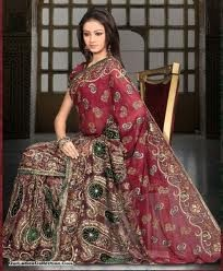 Generally Bridal sarees in pink or red shades are very popular among brides in India