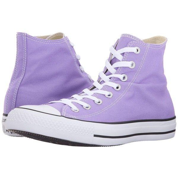 Converse Chuck Taylor All Star Seasonal Color Hi (Frozen Lilac) Lace... (£46) ❤ liked on Polyvore featuring shoes, sneakers, lilac shoes, lace up shoes, converse trainers, lace up high top sneakers and metallic shoes