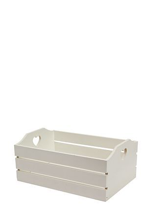 """Slatted wood crate with star cut out detail. Excellent for any type of storage,toys, clothes, towels. Durable and looks neat .Available in medium and large.<div class=""""pdpDescContent""""><BR /><b class=""""pdpDesc"""">Dimensions:</b><BR />L36xW23xH16 cm</div>"""
