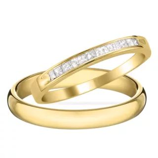 Diamantové zlaté snubní prsteny