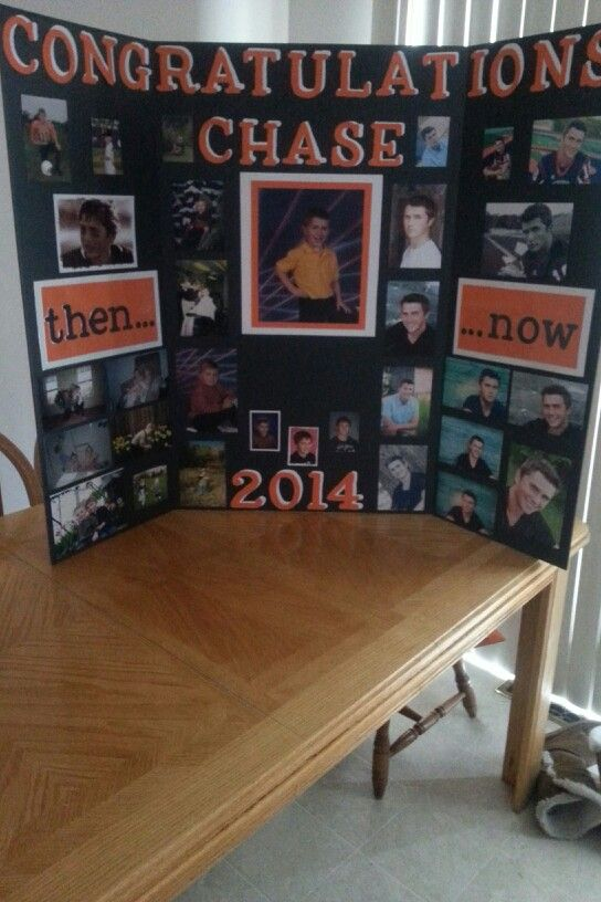 Graduation picture board. Just missing this years prom picture. ♥