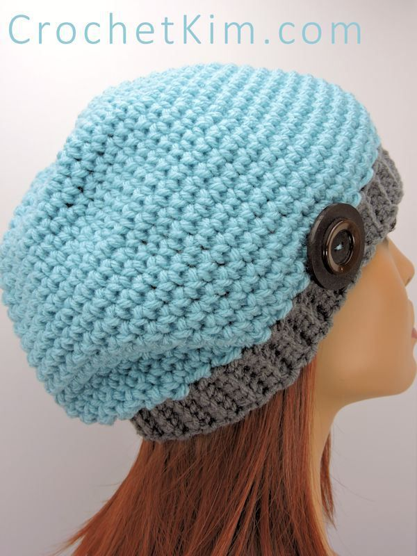 Basic Slouchie Beanie | free crochet pattern at CrochetKim.com: Terrific for gifts and charity #freecrochetpattern slouchy hat beanie