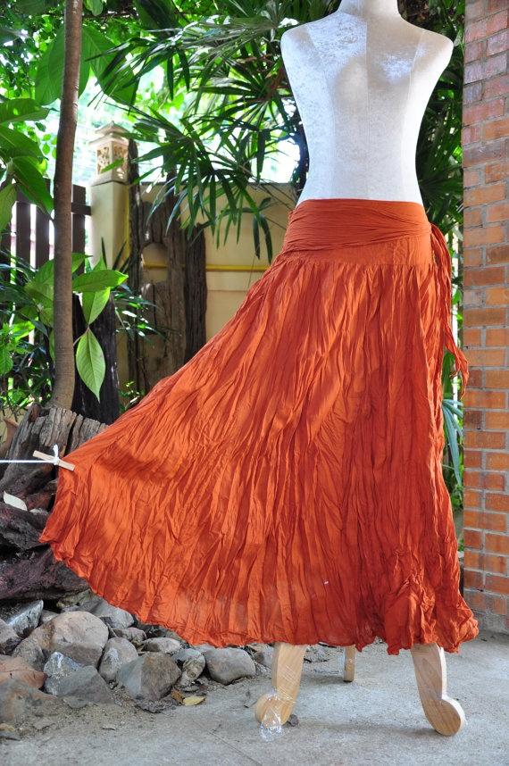 Long Boho/Hippy/Bohemian Skirt Cotton Orange. $24.89, via Etsy.