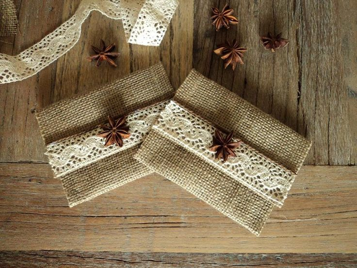 Rustic wedding favor with burlap, chrochet lace and star anise.