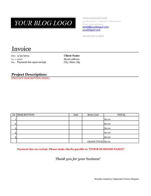 invoice template for bloggers | tips & tricks for bloggers, Invoice templates