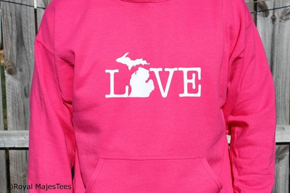 Michigan Love Hoodie, Michigan Sweatshirt, State, Home, Mitten