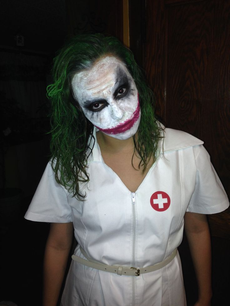 Joker costume for Halloween. Green hair spray. White liquid halloween make up. Spirit gum. Wax for scars. Black halloween makeup. Red lipstick. Nurse costume. #halloween #joker #darkknight #batman #costume