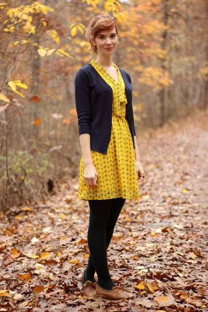7cb84448ae62 Cute fall outfit from Bleu Avenue  Yellow print dress