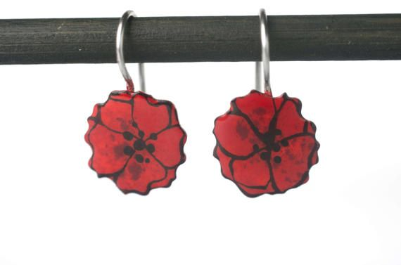 Poppy Earrings for Women and GirlsHand Painted by CinkyLinky