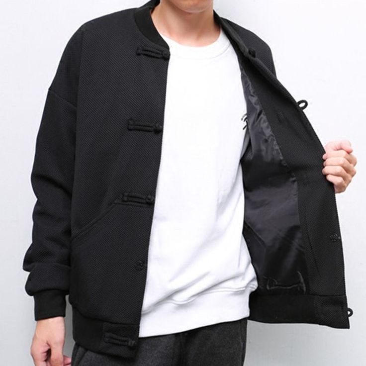 Mens Retro Chinese Frog Style Slim Jacket Traditional Jacket Coat Outwear Cotton