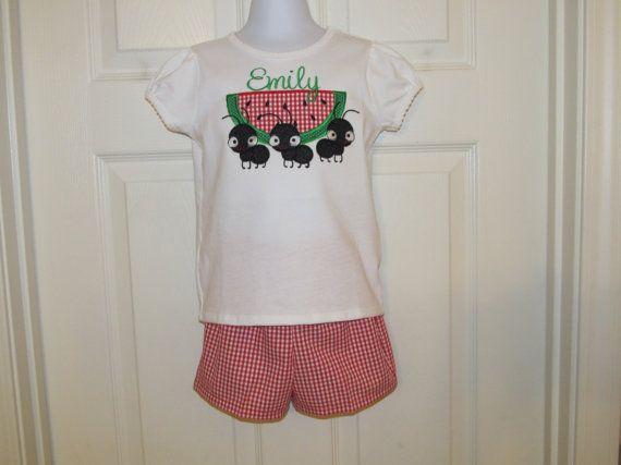 Niñas corto Set con sandía y hormigas Applique, pantalones cortos de tela guinga roja, monograma