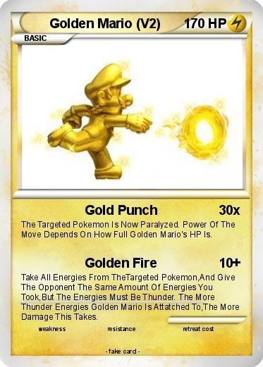 golden mario pokemon card