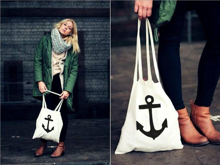 Jutebeutel mit Anker // Anchor tote bag by WAMASA via DaWanda.com