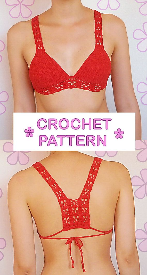 Crochet pattern bikini top with thick lacy straps by AkariCrochetPatterns