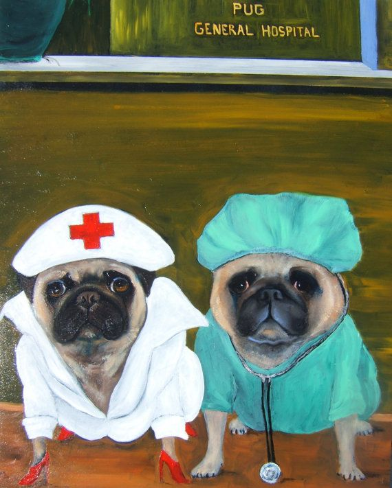 """Pug Dog ARt/Original Oil Painting/""""Pug General Hospital""""/16x20/by Mike Holzer"""