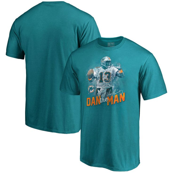 Dan Marino Miami Dolphins NFL Pro Line Retired Player Illustration Name & Number T-Shirt - Aqua