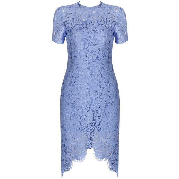Short Sleeve Crochet Bandage Dress Blue ❤ liked on Polyvore featuring dresses, macrame dress, blue crochet dress, blue day dress, short-sleeve dresses and blue bandage dress