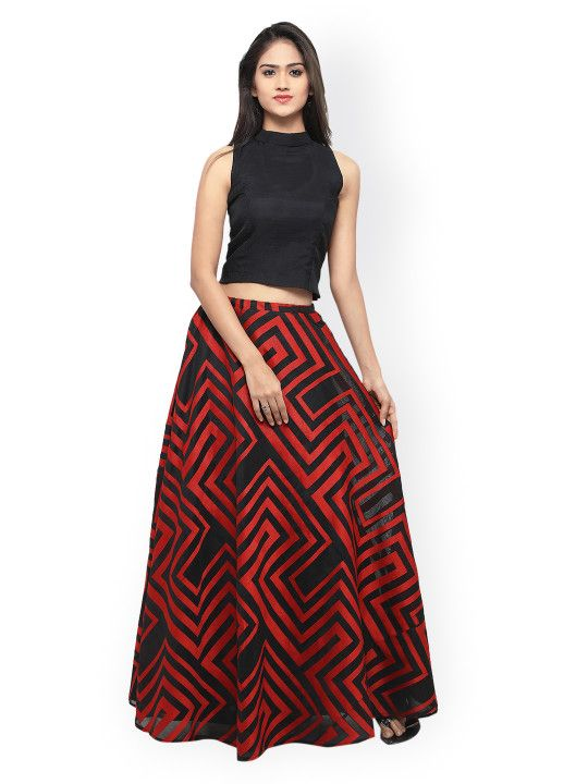 544aacf069e Inddus Black   Red Semi-Stitched Lehenga Choli -