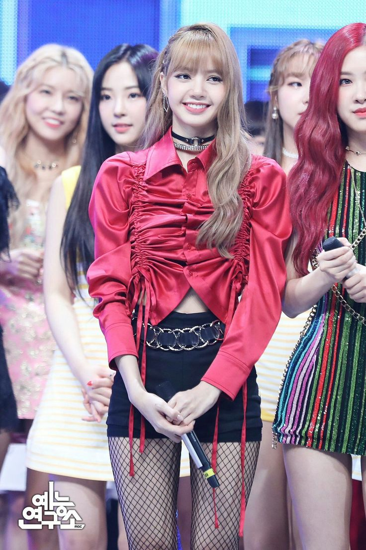 Blackpink Outfit Ideas: Red Shirring Ribbon Blouse