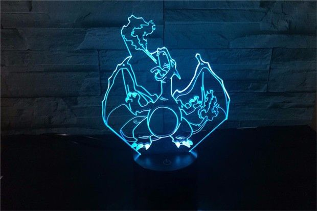 Pokemon Lamp Charizard Shape 7 Color Change Night Light 3D Table Light Free Drop Shipping. Pokemon Lamp Charizard Shape 7 Color Change Night Light 3D Table Light Free Drop Shipping Description: Material: Acrylic & ABS Plastic  7 Color change: Red, Green, Blue, Yellow, Cyan, Pink, White Touch button: Press one time, one color light up, press it again, it turns off. Press it thirdly, another color light up. Automatically color changing mode. Press the touch button to last color, then press it…