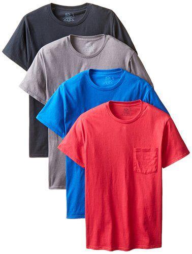 #2.Fruit of The Loom Men's 4-Pack Pocket Crew-Neck T-Shirt –Colors May Vary