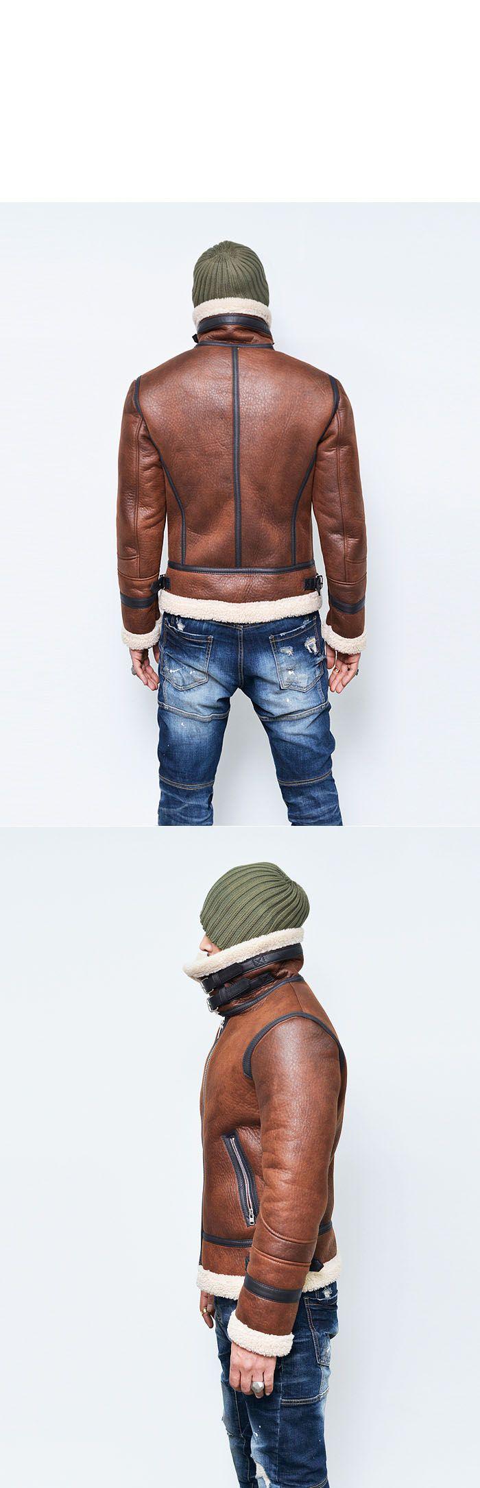 Outerwear :: Double-belt Buffalo Highneck Flight Jacket-Leather 134 - GUYLOOK Men's Trendy Fashion Clothing Online