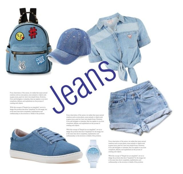 """""""Jeans and denim"""" by pusheencute on Polyvore featuring GUESS, Levi's, J/Slides, IMoshion, WithChic and Lacoste"""