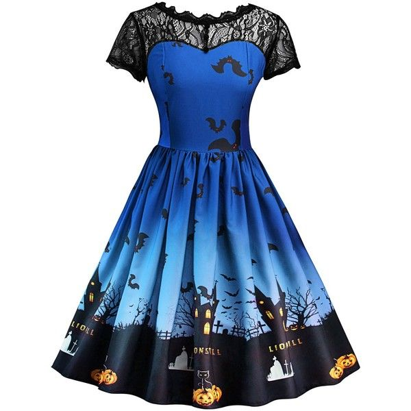 Vintage Lace Insert Halloween Pin Up Dress ($16) ❤ liked on Polyvore featuring costumes, dresses, halloween, pinup halloween costume, pinup costume, pin up costumes, blue halloween costumes and vintage pin up costumes