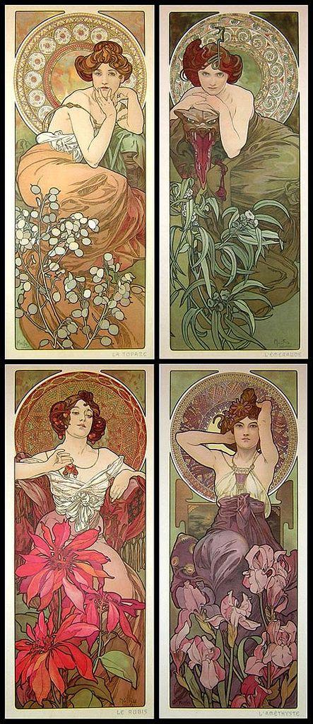 Precious Stones - Alfons Mucha (1900) / Alfons Mucha was a Czech Art Nouveau painter and decorative artist.