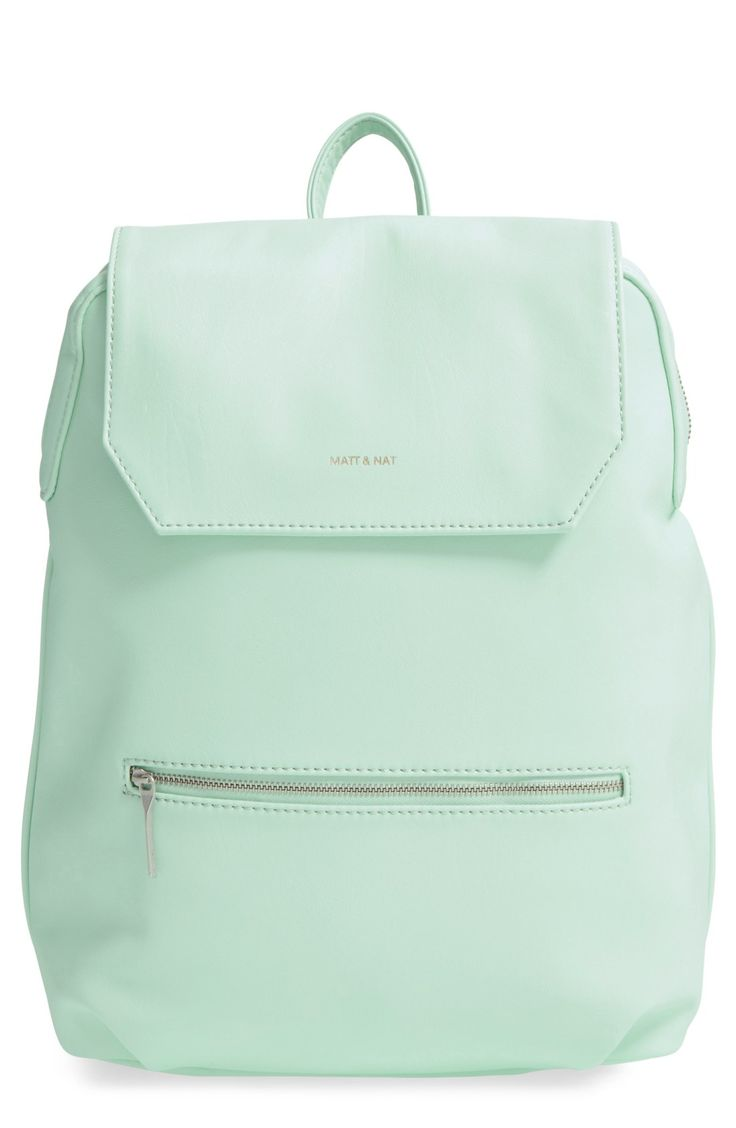 In love with this minimalist, mint-colored backpack. The silhouette goes street-chic with smooth vegan leather, a spacious interior and plenty of easy-to-access pockets.