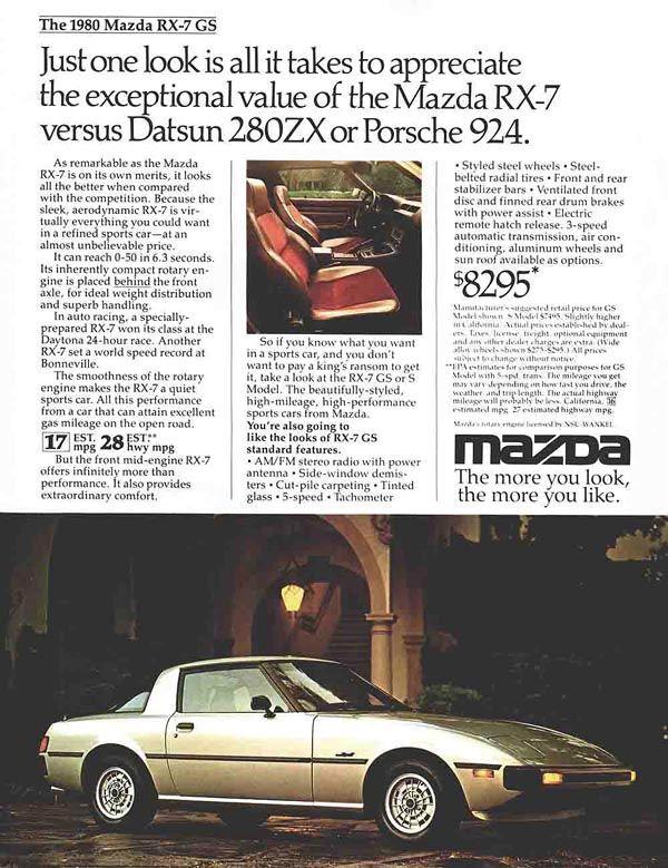 1980 Mazda RX-7 ad
