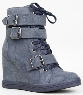 HALSTON-01 Lace Up Buckle Urban #Wedge #Sneaker #Shoe: Price: 	$40.00 - $41.00
