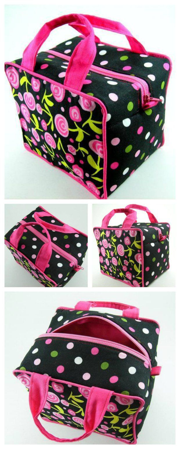 Boxy cosmetics bag sewing pattern.  Love the shape and style of this one, with optional piping and handles too.  My go-to overnight bag.